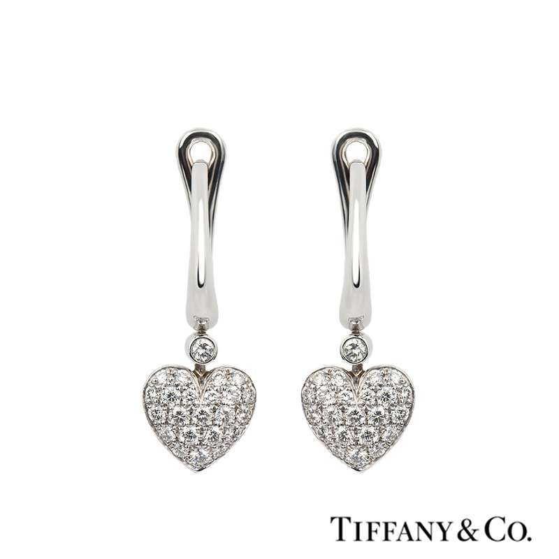 1ad1d7918 Tiffany & Co. Diamond Pave Heart Drop Earrings in Platinum